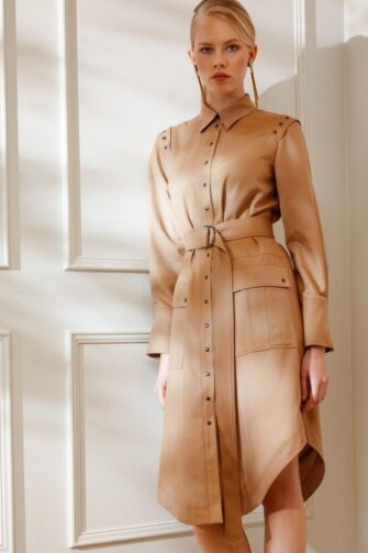 DIANA ARNO MAYA UTILITARIAN SHIRT DRESS WITH SNAPS