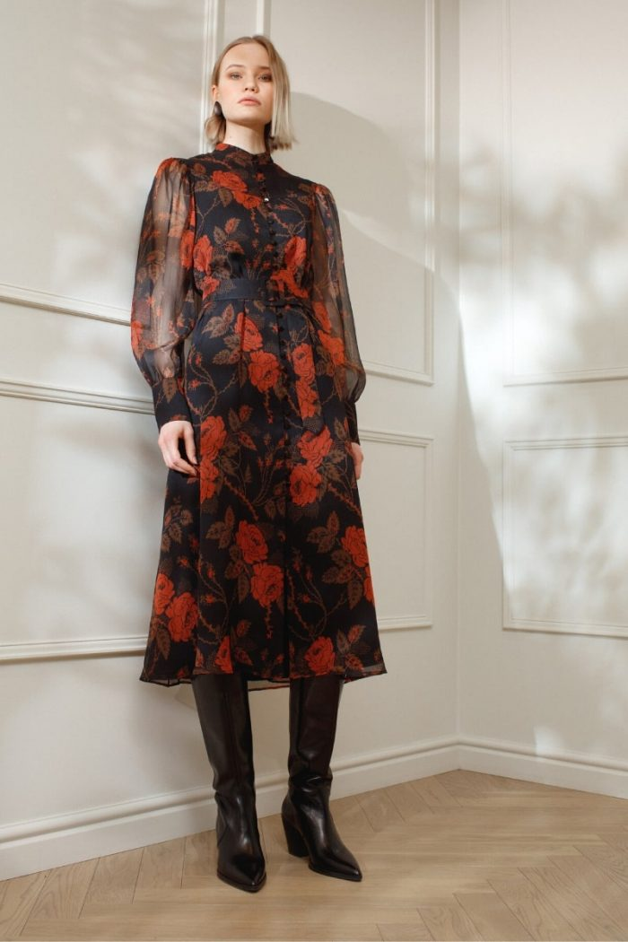 DIANA ARNO EMILY SILK SHIRT DRESS IN THORNY ROSES