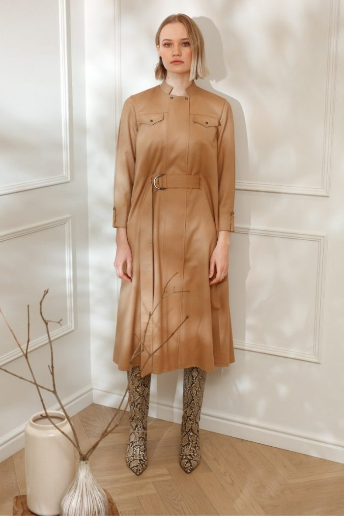 DIANA ARNO IRENE WOOL CAPE DRESS IN SUNNY BEIGE