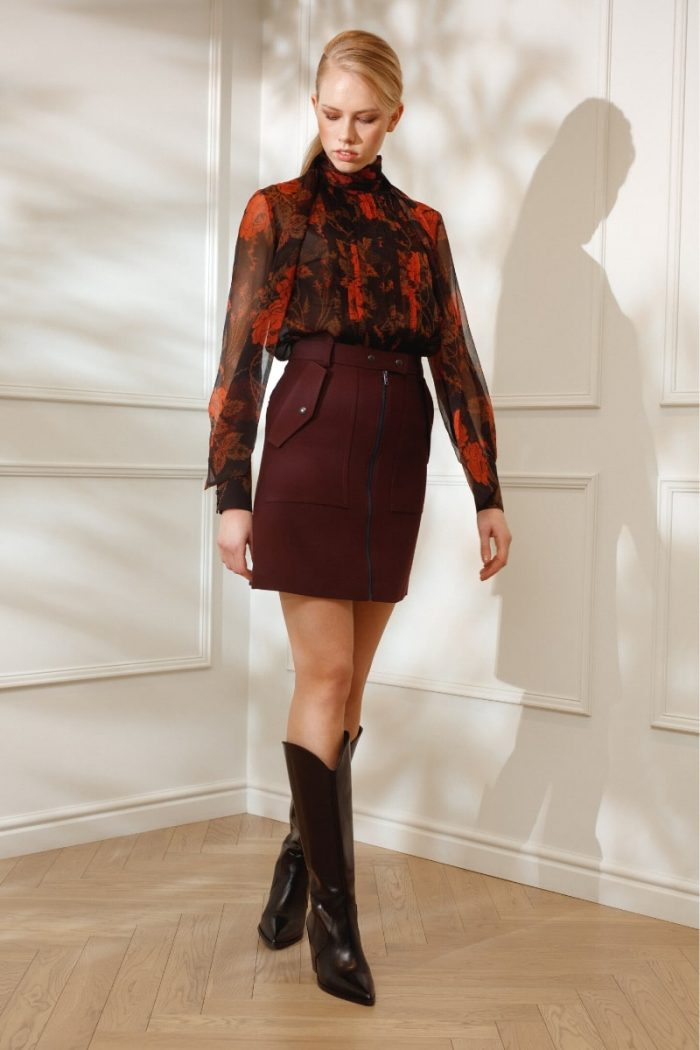 DIANA ARNO KOURTNEY MINI SKIRT IN RUBY WINE