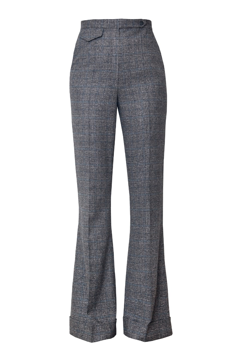 LISA FLARED TROUSERS IN EARL GREY CHECK