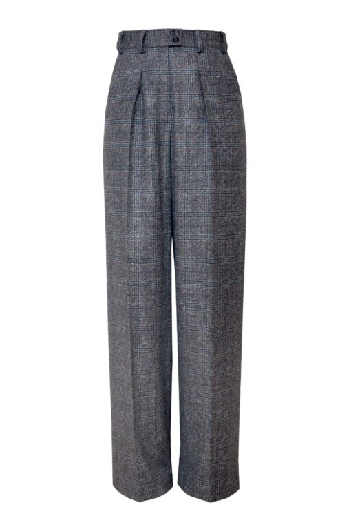 LAUREN WIDE-LEG TROUSERS IN EARL GREY CHECK
