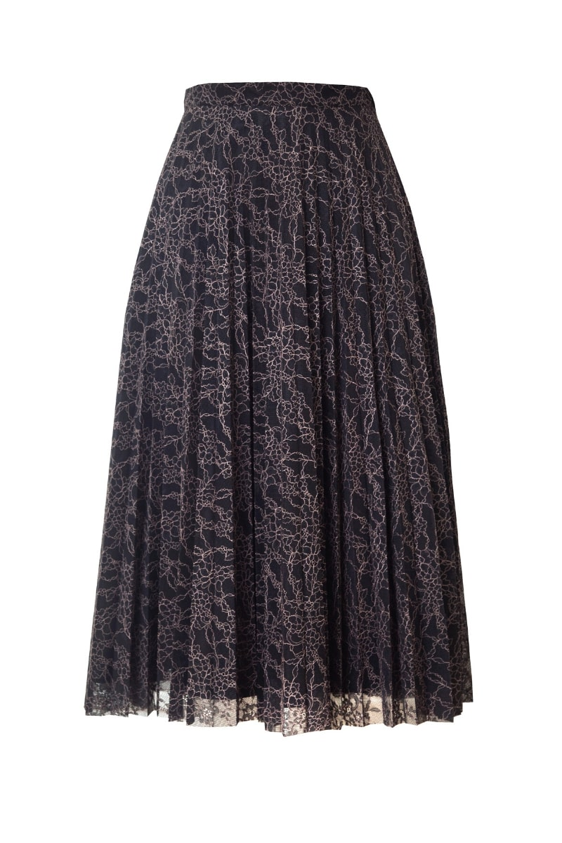 STELLA PLEATED LACE MIDI SKIRT IN POWDERED FLORALS