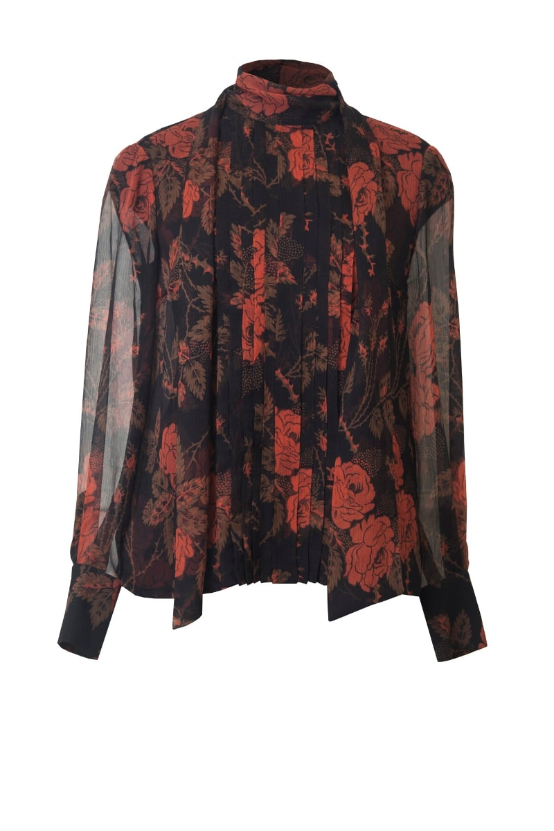 LELIA SILK BLOUSE IN THORNY ROSES
