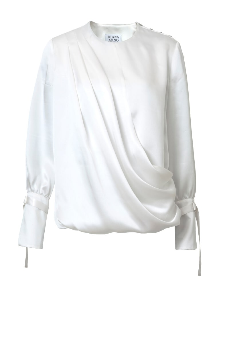 LILY DRAPED SILK BLOUSE IN DREAMY WHITE