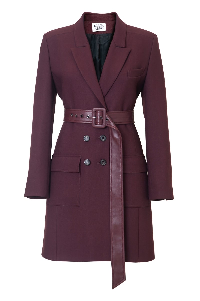 BIANCA BELTED BLAZER-DRESS IN RUBY WINE