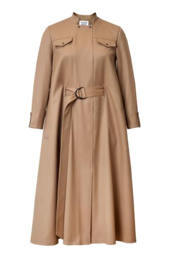 IRENE WOOL CAPE DRESS IN SUNNY BEIGE