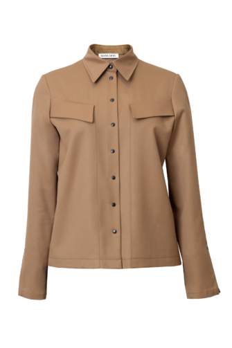 ALEXIA WOOL SHIRT IN SUNNY BEIGE