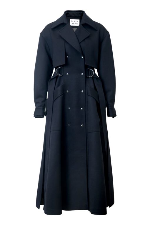 HOLLY MAXI LENGTH WOOL COAT IN NAVY