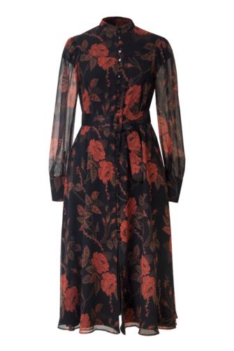 EMILY SILK SHIRT DRESS IN THORNY ROSES