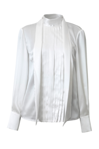 LELIA SILK SCARF BLOUSE IN DREAMY WHITE