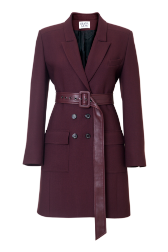 BIANCA BELTED BLAZER-DRESS IN RUBY WINE