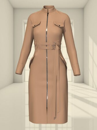 3D BODYCON DRESS WITH TWO BELTS