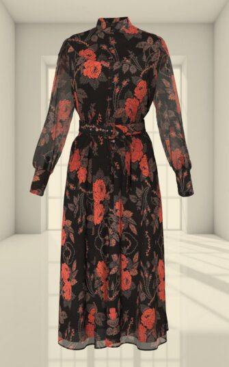 3D SHIRT DRESS WITH A ROSE PRINT