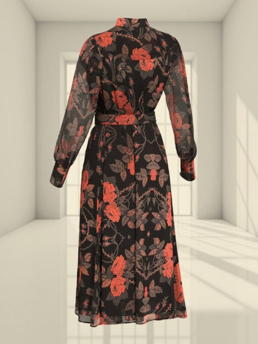 3D SHIRT DRESS WITH A ROSE PRINT