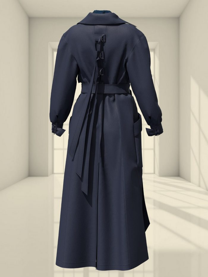 3D WOOL MAXI COAT AND A BOW BLOUSE