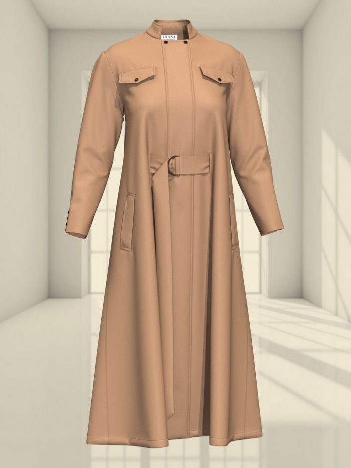3D WOOL CAPE DRESS IN SUNNY BEIGE