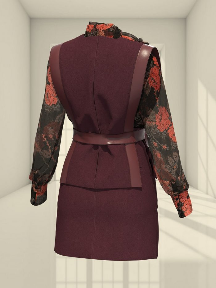 3D LOOK WITH A VEST, SKIRT, AND A BOW BLOUSE