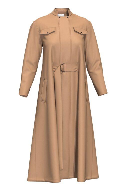3D WOOL CAPE DRESS IN SUNNY BEIGE