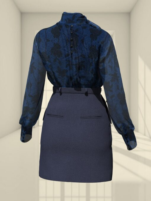3D LOOK WITH A SKIRT AND A BOW BLOUSE