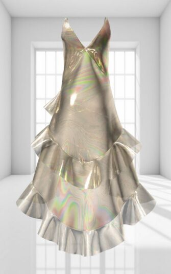 3D RUFFLED MAXI DRESS IN LIQUID GOLD