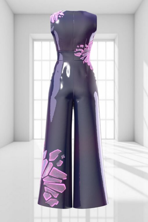 3D WIDE-LEG JUMPSUIT IN SPACE PURPLE