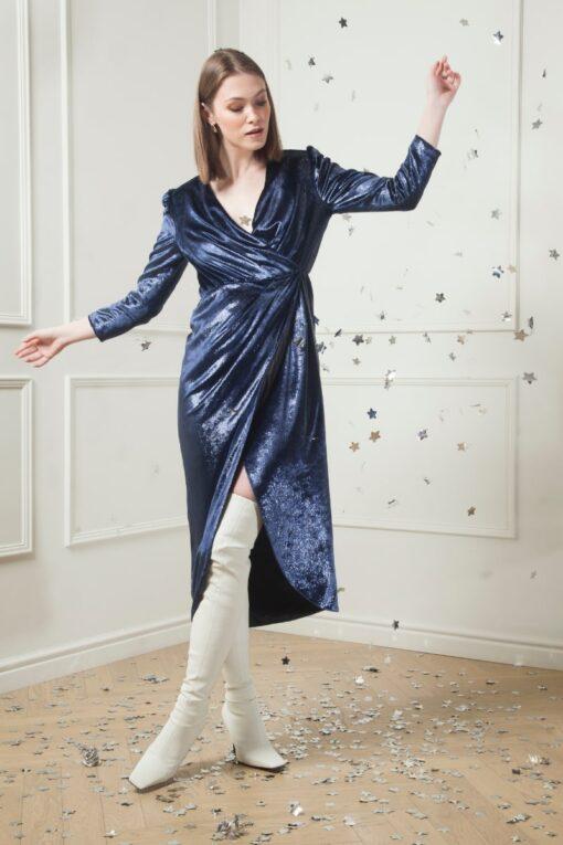 EMILIA WRAP VELVET DRESS