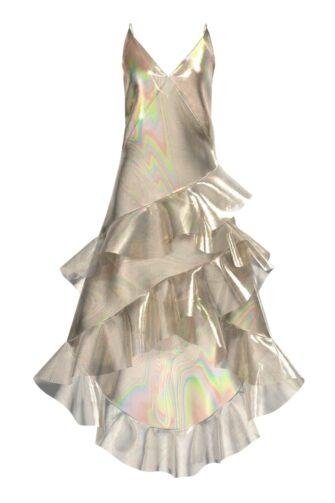 3D RUFFLED MAXI DRESS IN LIQUID GOLD