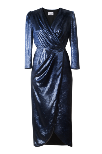 EMILIA WRAP VELVET DRESS IN CELESTIAL BLUE