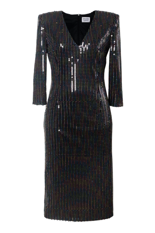 SERENA SEQUIN DRESS WITH PADDED SHOULDERS