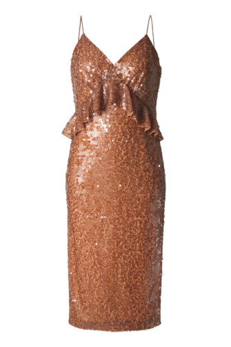 LARA SEQUIN BODYCON DRESS IN CARAMEL
