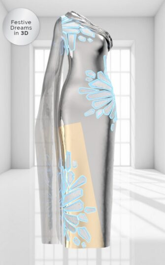 3D ONE-SHOULDER GOWN IN SILVER IONS