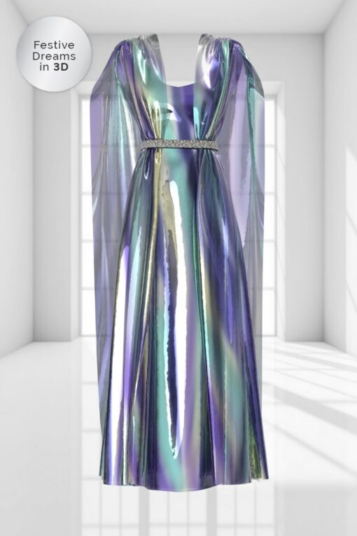 3D FLOOR-SWEEPING GOWN IN LUSTER GEMSTONE