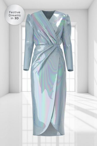 3D WRAP MIDI DRESS IN STARDUST