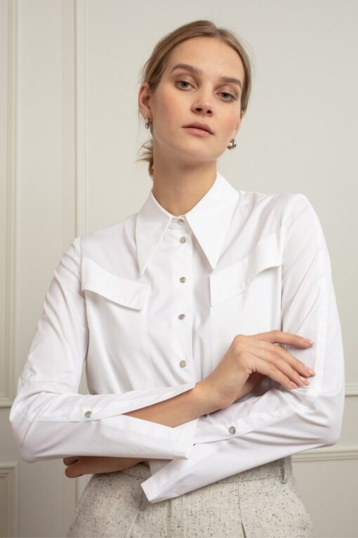ALEXA POINTED COLLAR COTTON SHIRT