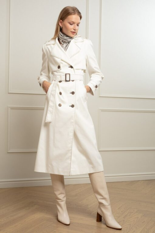 ARIA DENIM TRENCH IN COCONUT MOUSSE