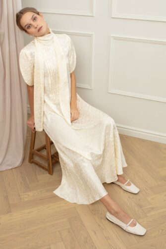 ETHEL TURTLENECK MAXI DRESS IN VANILLA CRUSH