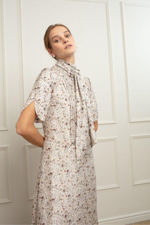 ETHEL SILK MAXI DRESS IN ENGLISH ROSE