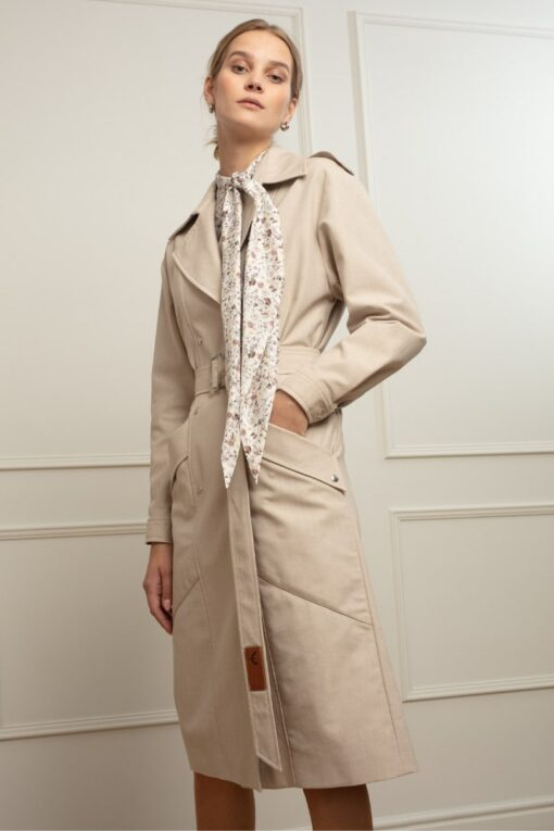 JUDITH DENIM TRENCH IN MILK OOLONG