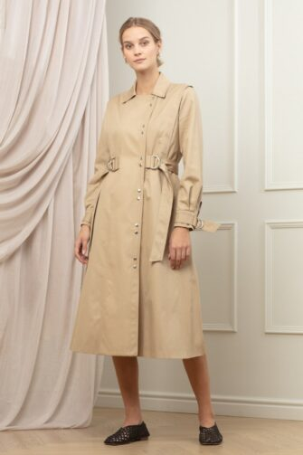 KENDRA COTTON TRENCH IN CRISP BISCUIT