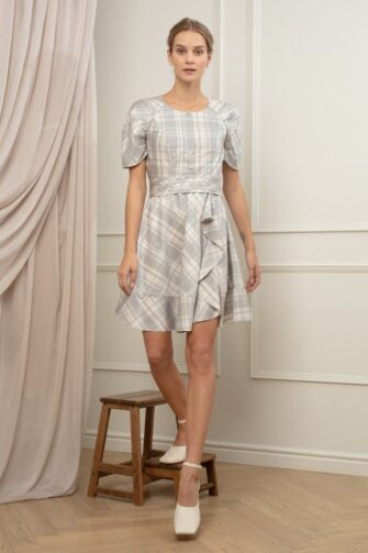 KYLIE TEA DRESS IN COTTON CANDY CHECK