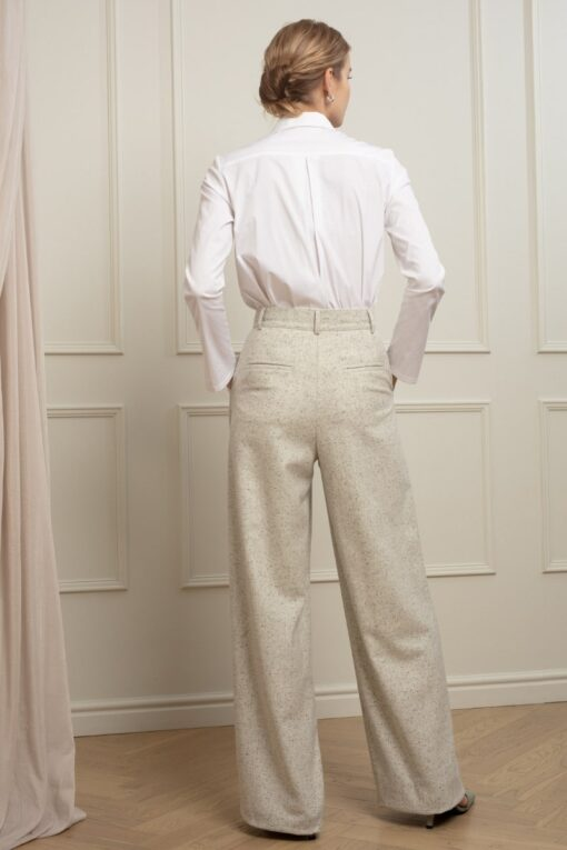 LAUREN WOOL TROUSERS IN WHITE NIGHTS