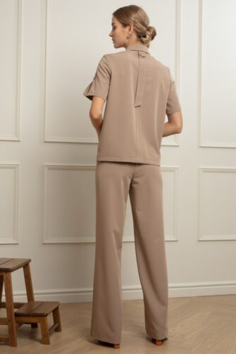 LAUREN WIDE-LEG TROUSERS IN COLD COCOA