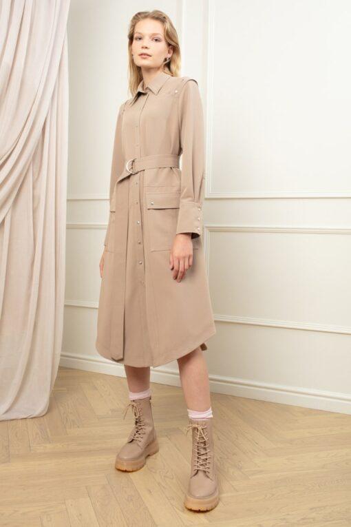 MAYA UTILITY SHIRT DRESS IN COLD COCOA