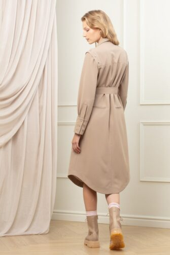 MAYA UTILITY SHIRT DRESS IN COLD COCOA