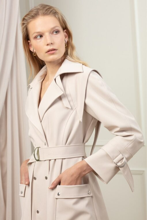 GIA STATEMENT TRENCH IN WHIPPED CREAM