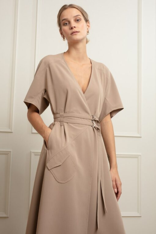 IVY WRAP DRESS IN COLD COCOA