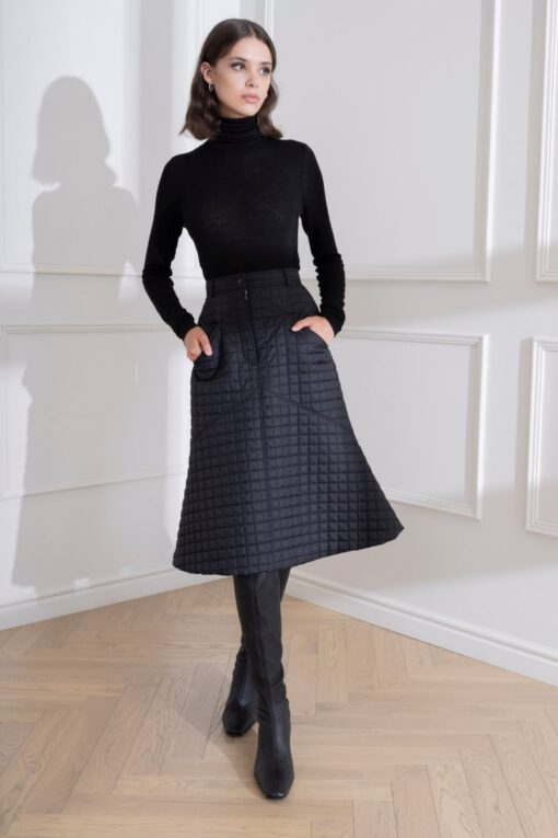 DIANA ARNO EDDA QUILTED MIDI SKIRT IN BLACK CHARCOAL