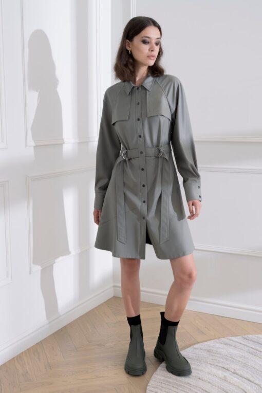 DIANA ARNO ELSA MINI-LENGTH WOOL DRESS IN DUSTY SAGE