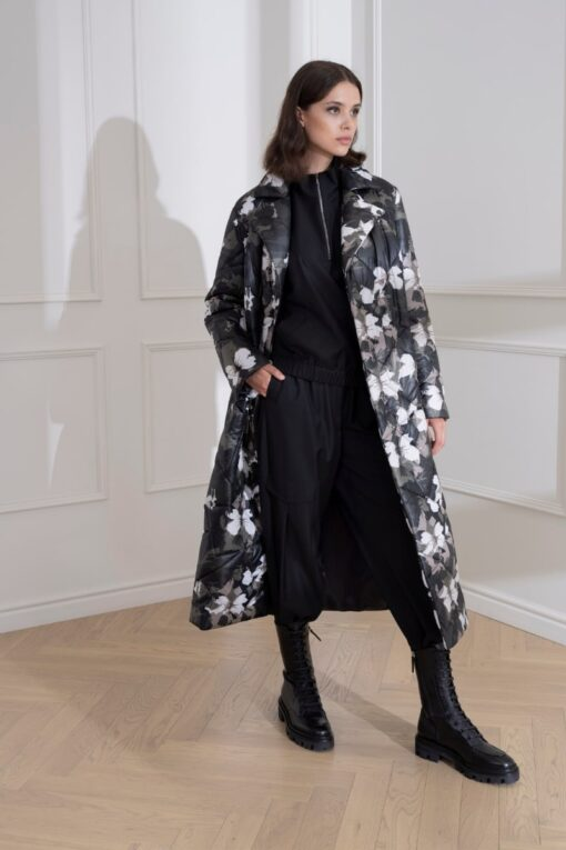 DIANA ARNO ESTHER LONG PADDED COAT IN URBAN BLOSSOM